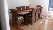 10ft handmade solid wood dining table and 8 balinese rattan chairs