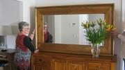 Large,  framed mirror